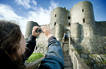 HARLECH castle girl with camera.jpg